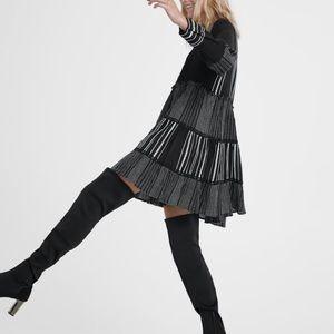 Zara high heeled fabric boots NWT